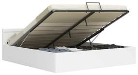 285551 vidaXL Cadru pat hidraulic cu ladă LED alb 180x200 cm piele ecologică