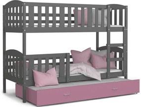 Expedo Pat supraetajat copii cu pat suplimentar KUBA 3 COLOR + saltea + somieră GRATIS, 190x80, gri/roz