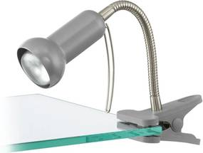 Veioza de birou cu clips FABIO, EGLO, E14, 1x40W, otel, plastic, argintiu, 30 cm diametru, intrerupator pe fir