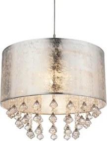 Pendul 1xE27 argintiu-cristal Amy Globo Lighting 15188H3