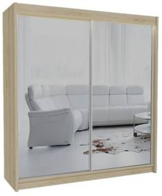 Expedo Dulap cu uși glisante si oglindă ROBERTA, 200x216x61, sonoma