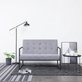 282161 vidaXL Canapea cu 2 locuri și brațe gri deschis oțel & material textil