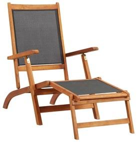 45958 vidaXL Șezlong, lemn masiv de acacia și textilenă