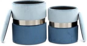 Set 2 tabureti tapitati cu spatiu pentru depozitare Zora albastri deschis / argintii
