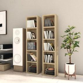 802699 vidaXL Dulapuri CD-uri, 2 buc., stejar Sonoma, 21x16x93,5 cm, PAL