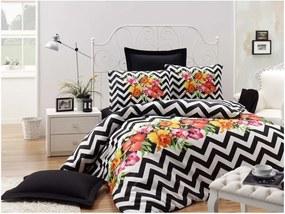 Lenjerie de pat și cearșaf Muco Black, 140 x 200 cm