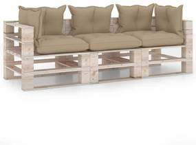 3066117 vidaXL Canapea de grădină din paleți, 3 locuri, cu perne, lemn de pin
