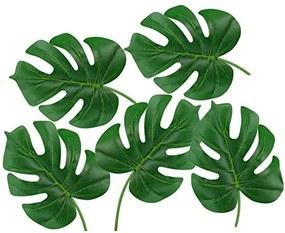 Set 5 frunze artificiale din plastic, Verde 55 cm
