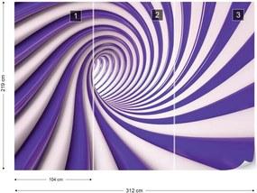 Fototapet GLIX - 3D Swirl Tunnel Purple And White + adeziv GRATUIT Tapet nețesute - 254x184 cm