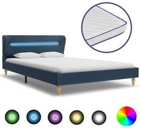 278352 vidaXL Pat cu LED și saltea spumă memorie albastru 140 x 200 cm textil