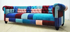 Sofa Chesterfield Patchwork - Blue Sky