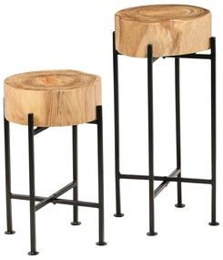246207 vidaXL Set de mese laterale 2 buc., lemn masiv de acacia