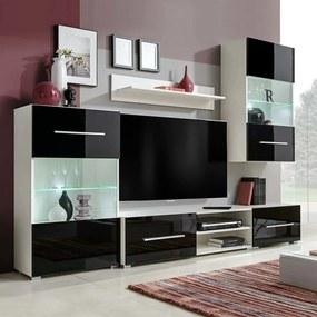 243864 vidaXL Set mobilier comodă TV de perete, 5 piese, iluminare LED, negru