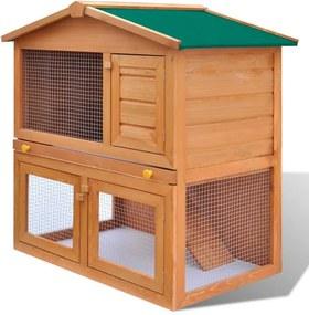 Cușcă de exterior iepuri cușcă adăpost animale mici, 3 uși, lemn