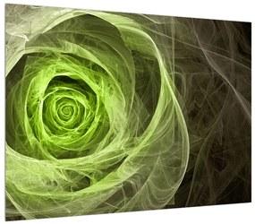 Tablou abstract cu trandafir verde (K014957K7050)