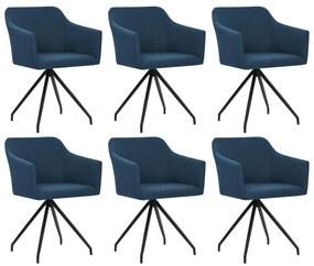 276058 vidaXL Scaune de bucătărie pivotante, 6 buc., albastru, textil