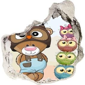 Fototapet un zid spart cu priveliște Ursul și Owl