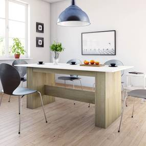 800473 vidaXL Masă de bucătărie, alb și stejar Sonoma, 180 x 90 x 76 cm, PAL