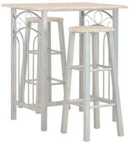 284398 vidaXL Set mobilier de bar, 3 piese, lemn și oțel