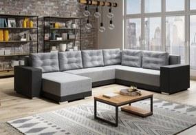 Expedo Set canapea în formă de U DEER, 315x90x220, malmo 90/negru piele ecologică