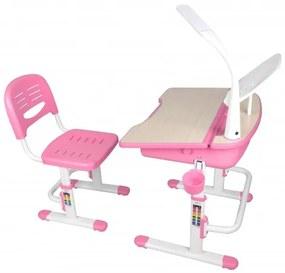 Set birou pentru copii cu lampa LED, reglabil pe inaltime Comfortline Roz, L70,5xl54,5xH54 cm