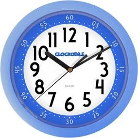 Ceas de perete Clockodile albastru, diam. 25 cm