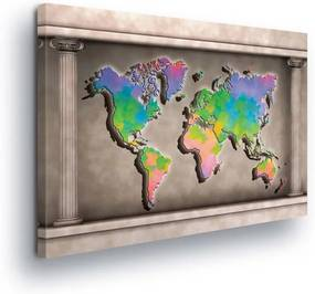 Tablou - Multicolored Map of the World in the Rama 100x75 cm