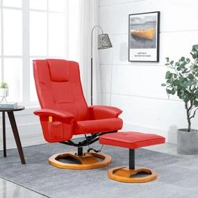 248448 vidaXL Scaun de masaj cu taburet, roșu, piele ecologică