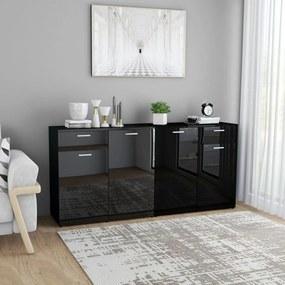 3054778 vidaXL Servantă, negru extralucios, 160 x 36 x 75 cm, PAL