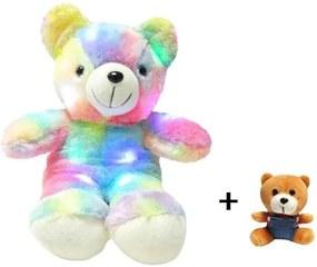 Set Ursulet plus iluminat LED RGB, inaltime 45 cm, rosu + Breloc pentru chei, lungime 12 cm