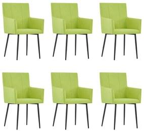 279703 vidaXL Scaune de bucătărie cu brațe, 6 buc., verde, material textil
