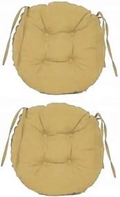 Set Perne decorative rotunde, pentru scaun de bucatarie sau terasa, diametrul 35cm, culoare bej, 2 buc/set