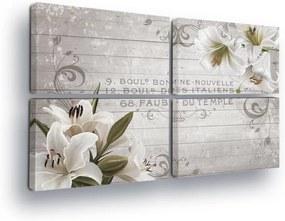 GLIX Tablou - Vintage with White Flowers II 4 x 60x40 cm