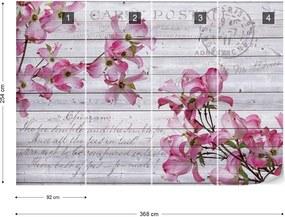 Fototapet GLIX - Blue Flowers Vintage 2 + adeziv GRATUIT Papírová tapeta  - 368x254 cm
