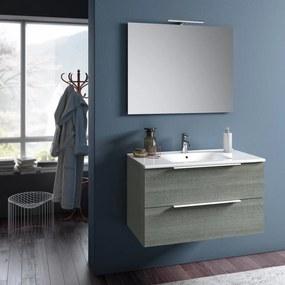 Set de baie cu 4 piese MALMO, Melamina Aluminiu Abs Sticla Ceramica Metal, Gri, 81x46.5x190 cm
