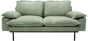 Sofa Retro din Piele cu Doua Locuri si Picioare Metalice Negre - Piele Negru Diametru (175 cm x 83 cm x 95 cm)