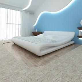 270717 vidaXL Pat cu saltea, alb, 180 x 200 cm, piele artificială