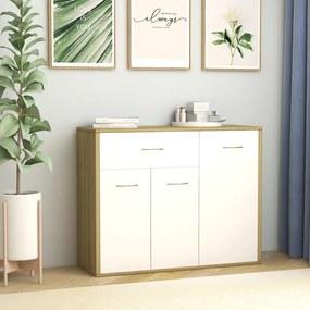 800680 vidaXL Servantă, alb și stejar Sonoma, 88 x 30 x 70 cm, PAL