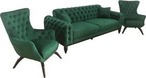 Set canapea 3 locuri cu 2 fotolii, verde - model JASMINE
