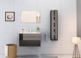 Set 3 piese mobilier pentru baie, negru, 80 cm