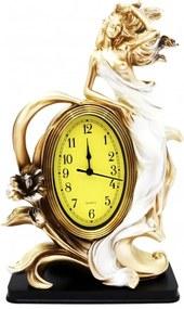 Ceas de masa polirasina auriu alb Women 35 cm