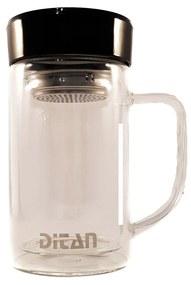 Cana pentru ceai din sticla cu pereti dubli,sita si capac, 350 ml