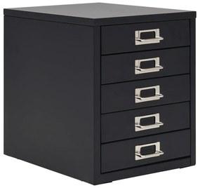 245974 vidaXL Fișet cu 5 sertare, metal, 28 x 35 x 35 cm, negru