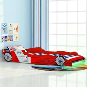 243936 vidaXL Pat pentru copii mașină de curse, cu LED, 90 x 200 cm, roșu