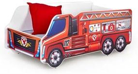 """Pat pentru copii """"Fire Truck"""" Red, 140 x 70 cm"""