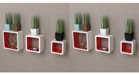275984 vidaXL Rafturi cub de perete, 6 buc., alb și roșu