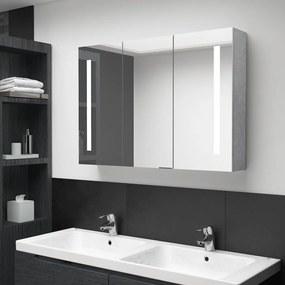 326525 vidaXL Dulap de baie cu oglindă și LED, gri beton, 89x14x62 cm