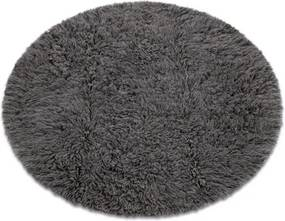 Flokati lână rotund gri cerc 110 cm