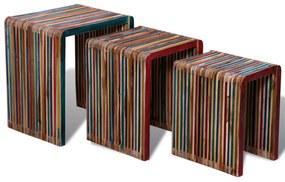 241717 vidaXL Set de mese suprapuse 3 piese, lemn de tec reciclat, multicolor