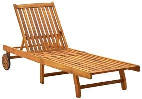 311871 vidaXL Șezlong de plajă, lemn masiv de acacia